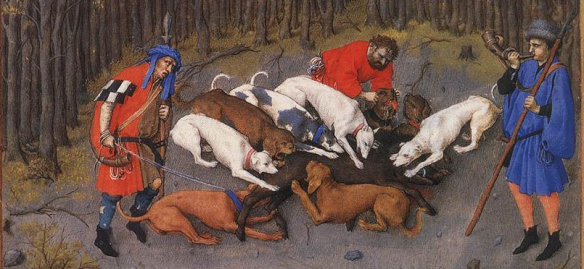 Les très riches heures du Duc de Berry, Lymer, raches and greyhounds at the curre