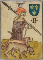A hunter from 1455, doubling up the rope to two dogs.