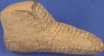 a Naalbound sock, probobly medieval